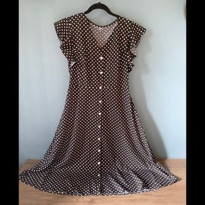 Black Polka Dot Buttons Fit And Flare Dress size M